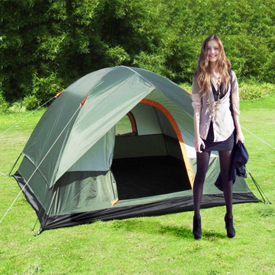 Windproof Outdoor Camping Hiking Polyester Oxford Cloth Dual Layers Tent Portable 4 People Travel Climbing Tent for Beach Travel