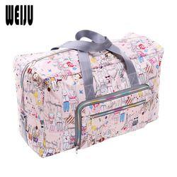 Weiju 2017 nuevo bolso plegable del recorrido gran capacidad impermeable impresión Bolsas portátil de mano de Bolsas de viaje mujeres