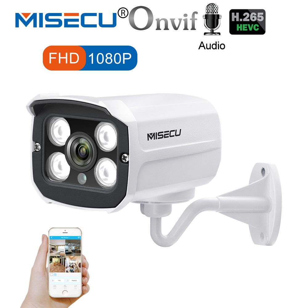 MISECU H.265 Audio Camera Sound Record DC 12V 48V POE Waterproof Metal 2.0MP Full HD Motion detect RTSP FTP Onvif Night vision