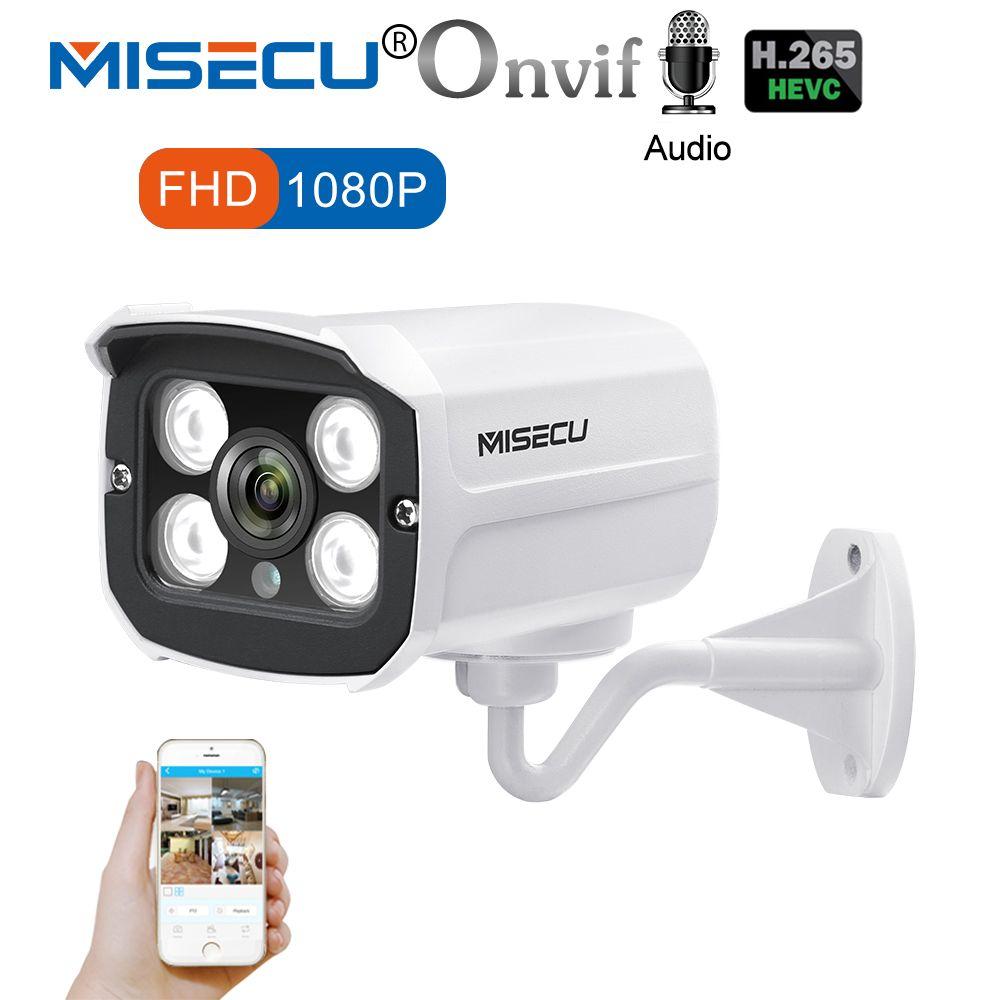 MISECU H.265 Audio Kamera Sound Rekord DC 12 v 48 v POE Wasserdichte Metall 2.0MP Volles HD Motion erkennen RTSP FTP Onvif nachtsicht