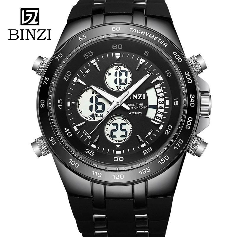 BINZI Watch Men Relogio Masculino Sport Clock Men's Wrist Watch Outdoor Fitness LED Digital Male Military Wristwatch xfcs 2018