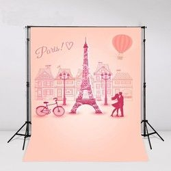 Pink Paris Eiffel Tower Hot Air Balloon Bike themed Backgrounds Vinyl cloth High quality Computer printed newborn baby backdrop