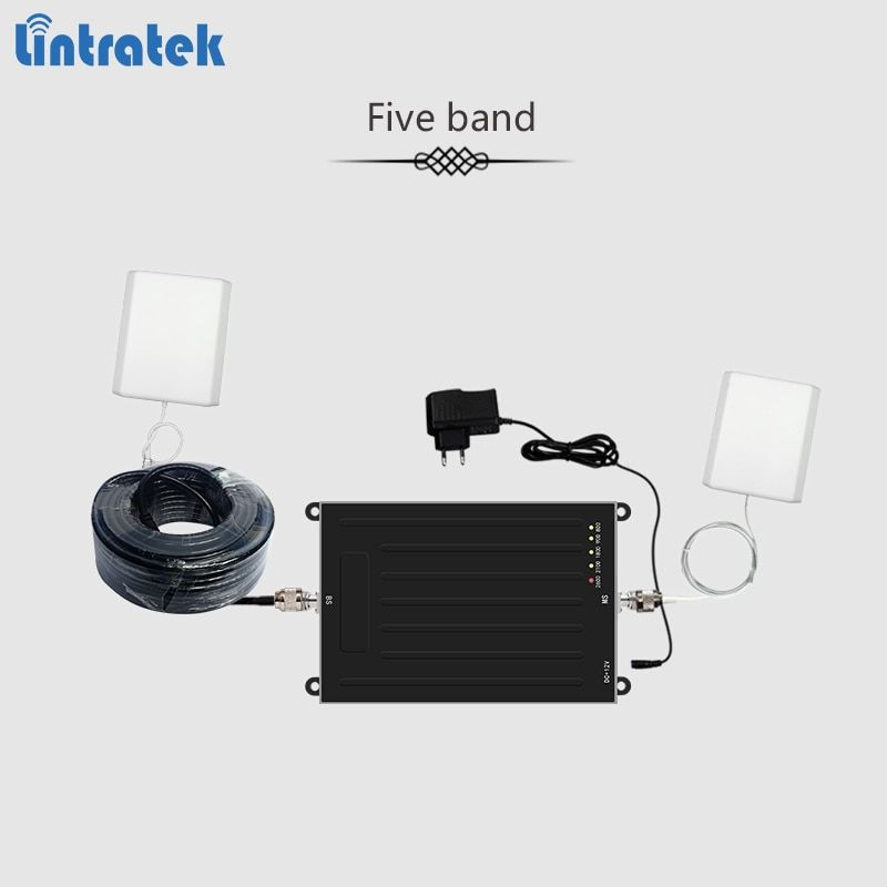 Lintratek new five-band signal repeater for 800/900/1800/2100/2600Mhz 2G 3G 4G GSM UMTS LTE signal booster AGC amplifier kit #85