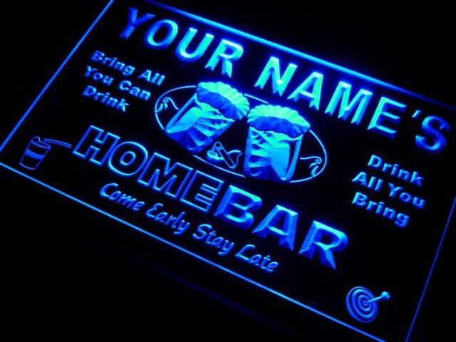 P-tm Nom Personnalisé Home Bar Bière Tasse LED Enseigne Au Néon 7 Couleurs ou Multicolore avec 5 Tailles Ronde ou Rectangle Forme