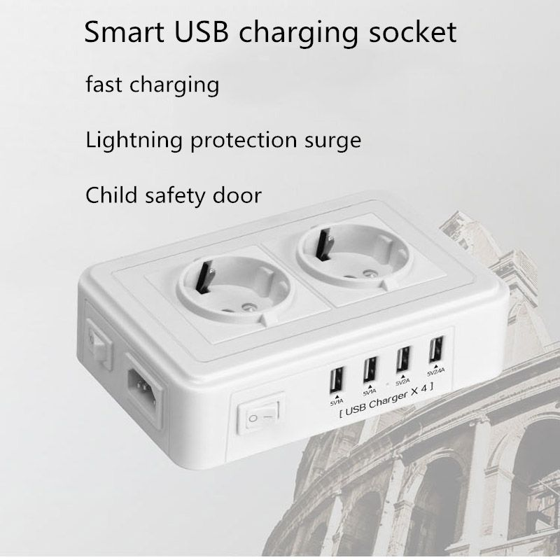 Grounding 2 power socket outlet 4 USB adapter wall charger dock 5V 2.4A surge protector extension strip for phone camera home