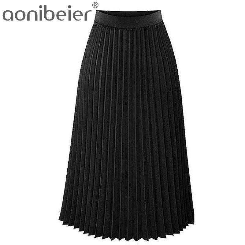 Aonibeier Mode Femmes de Haute Taille Plissée Solide Couleur Longueur Élastique Jupe Promotions Lady Noir Rose Parti Casual Jupes