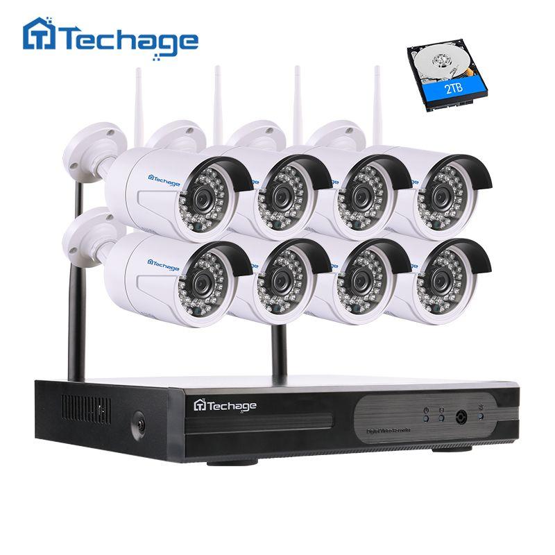 Techage 8CH 1080 P HD Sans Fil NVR Kit Wifi CCTV Système 8 PCS 2.0MP Extérieure Caméra de Sécurité Vidéo Surveillance Ensemble Livraison APP vue