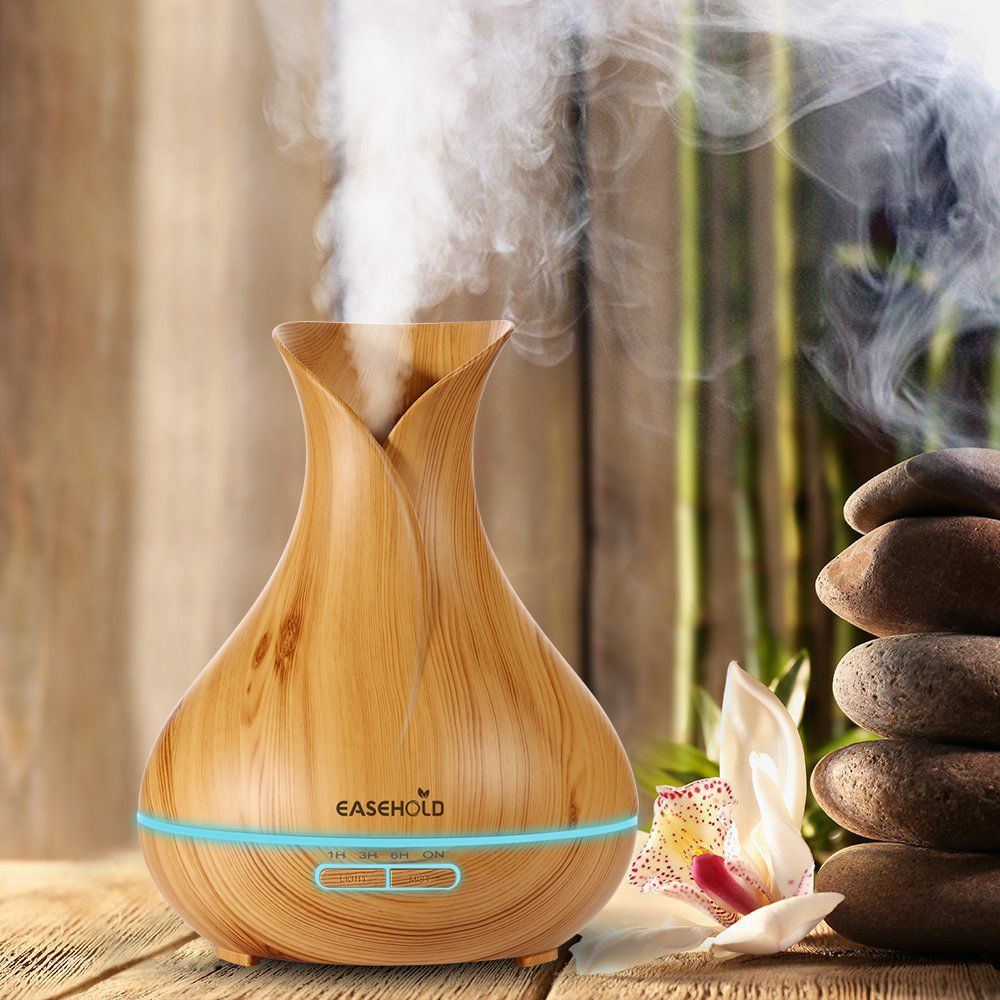 EASEHOLD 400ml Aroma Essential Oil Diffuser Ultrasonic Air Humidifier with Wood Grain 7 Color <font><b>Changing</b></font> LED Lights electric