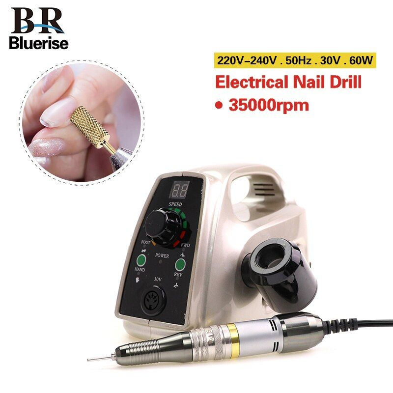 Electric Nail Drill Manicure Machine Pedicure Accessoires Drill Bits File Tools Strong Nail Art Equipment 35000 rpm 60w 220v