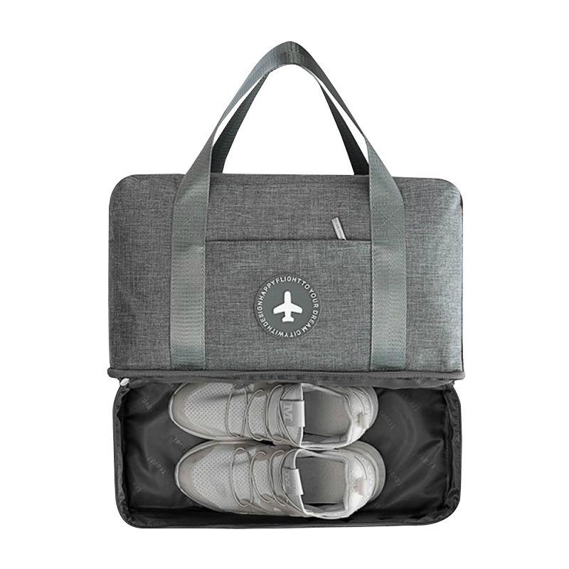 Décontracté Solide Couleur Voyage Sacs Deux Couches Vêtements Chaussures Classification Tidy Pouch Bagages Emballage Cube Organisateur Accessoires
