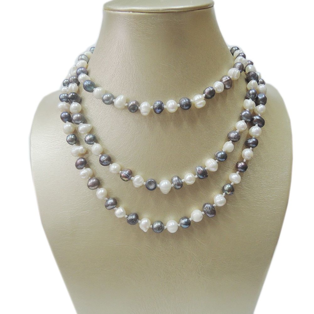 100% NATURE FRESH-WATER PEARL LONG NECKLACE-120 CM necklace in near round  shape