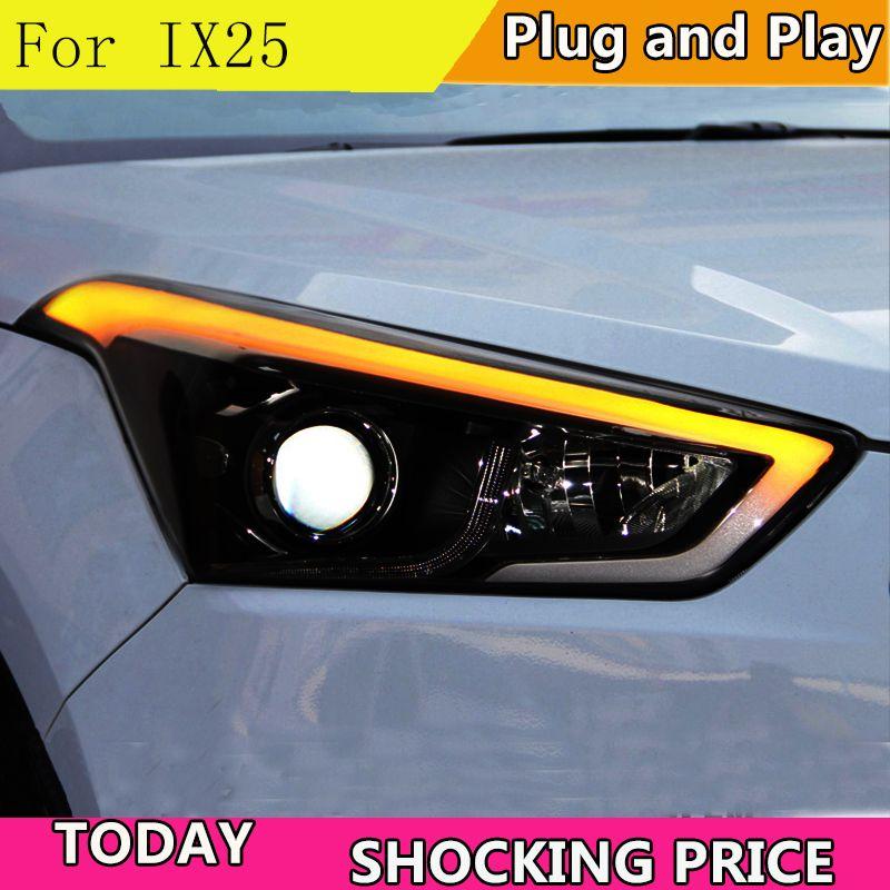 Doxa Auto Styling für Hyundai IX25 Scheinwerfer 2015-2017 Creta LED Scheinwerfer DRL Tagfahrlicht Bi-Xenon HID Zubehör