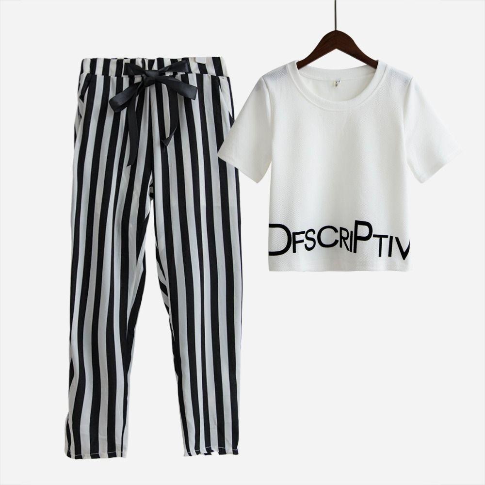 Mode femmes 2 pièces ensembles costume crop hauts lettres imprimer t shirt extensible rayé harem pantalon élastique survêtement vestidos S5469