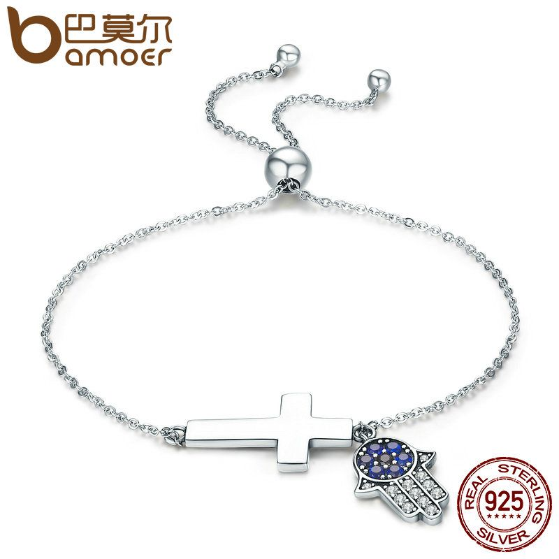 BAMOER 925 Sterling Silver Hamsa Hand & Cross Faith Power Lace up Women Link Bracelet Sterling Silver Jewelry Gift SCB028