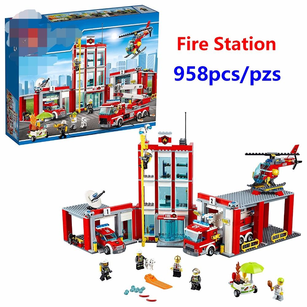 New City Fire Station Command Center Rescue Car Helicopter Building Blocks Toy For Children Compatible with lego 60110 Best Gift