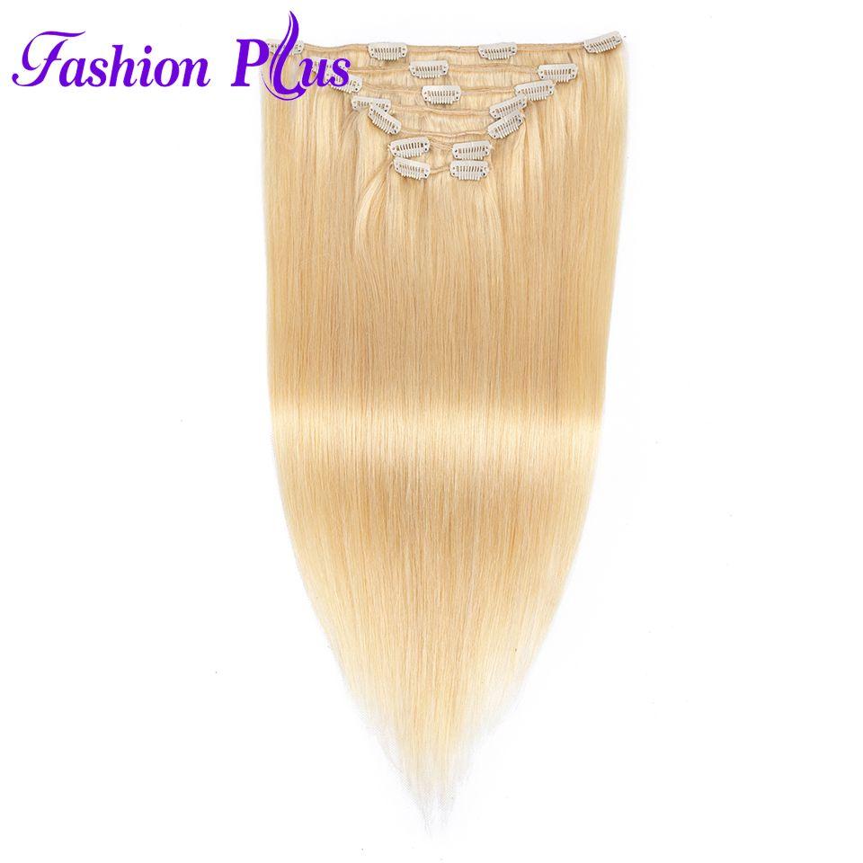 Fashion Plus Clip In Human Hair Extensions Machine Made Remy Straight Natural Hair Full Head 7pcs/Set 120g Human Hair Clips In