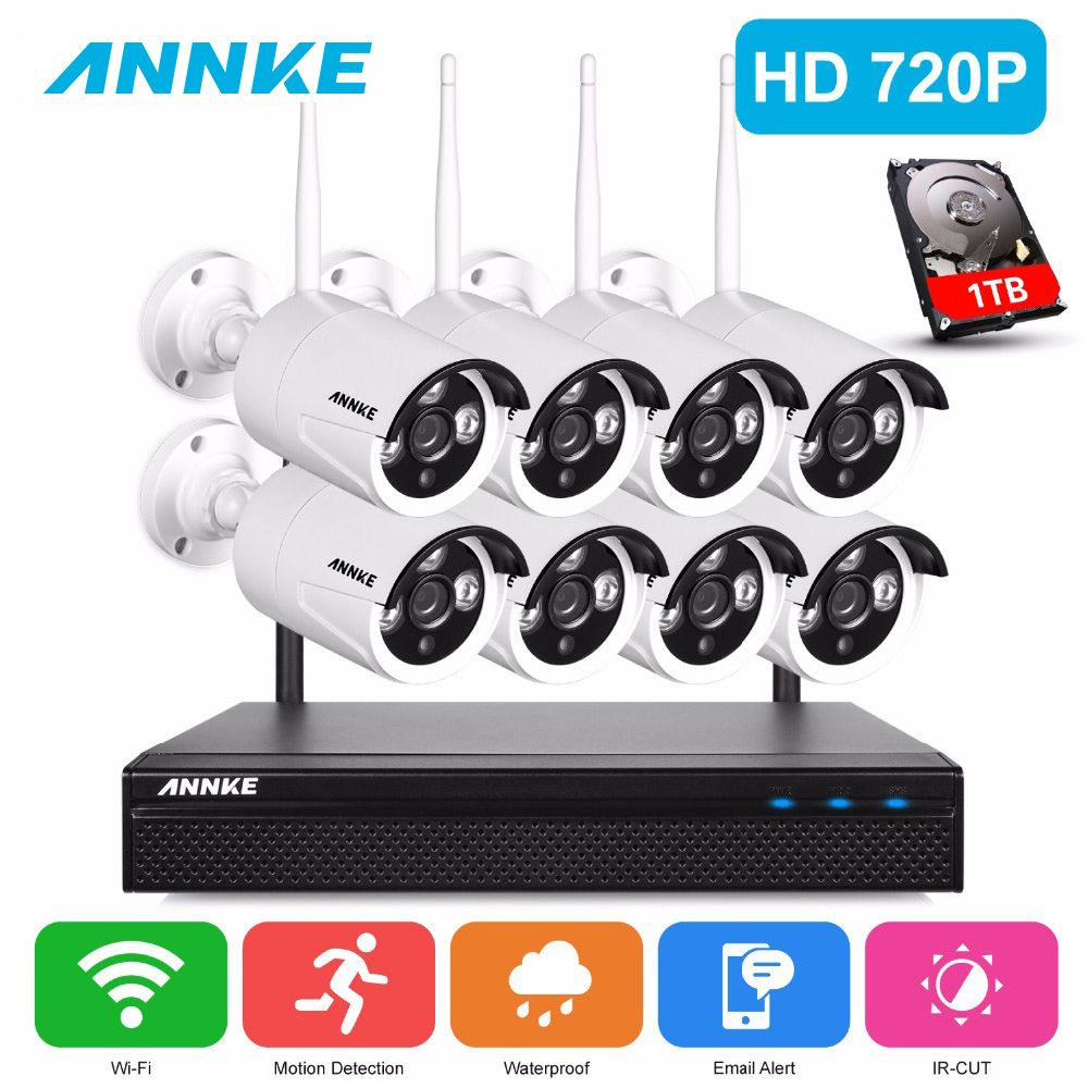 ANNKE 720P HD Wireless CCTV System 8ch HD wi-fi NVR kit Outdoor IR Night Vision IP Wifi Camera Security System Surveillance Kit