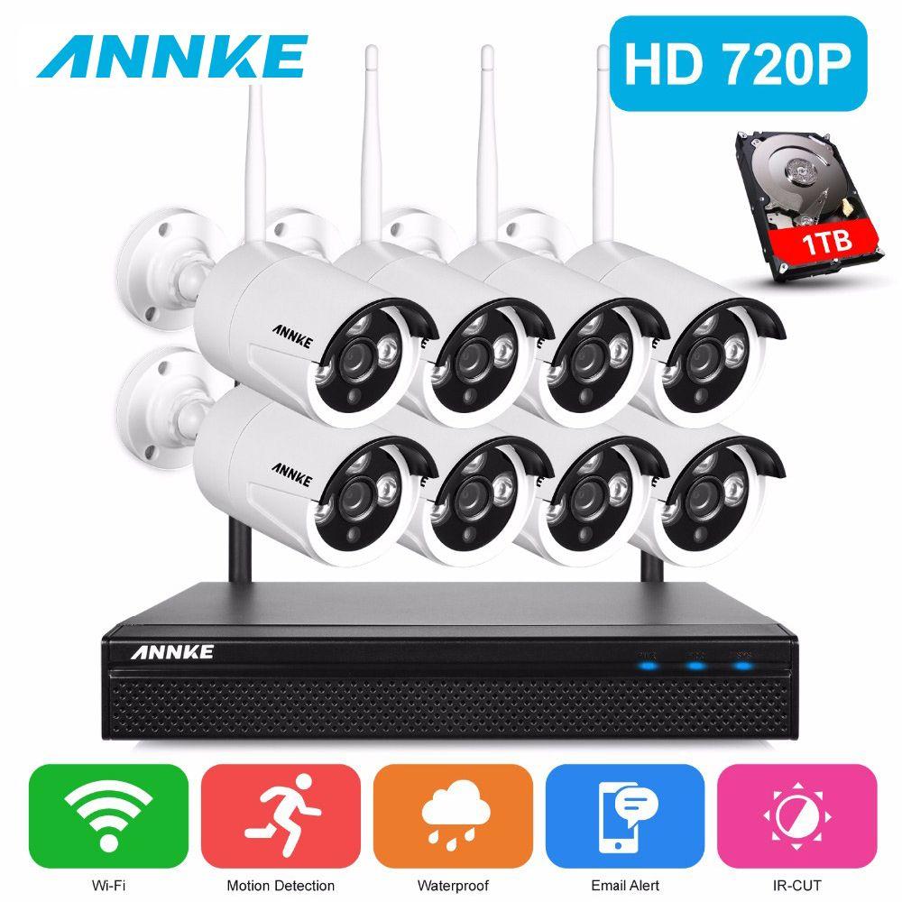 ANNKE 720P HD Wireless CCTV System 8ch HD wi-fi NVR kit Outdoor IR Night Vision IP Wifi Camera Security System Surveillance Kit