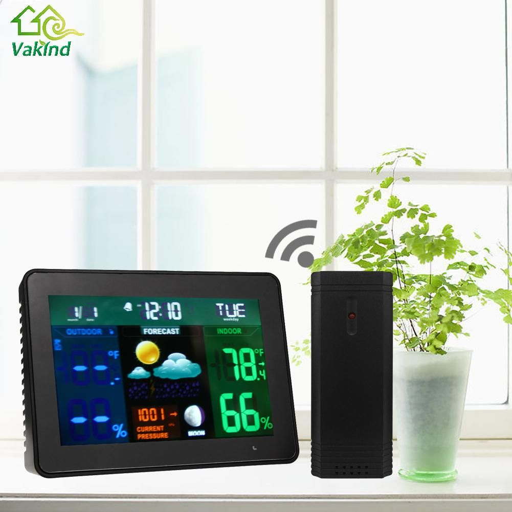 Thermometer Humidity Barometer LED Wireless Indoor Outdoor Thermometer Temperature Frost Alert Alarm Clock