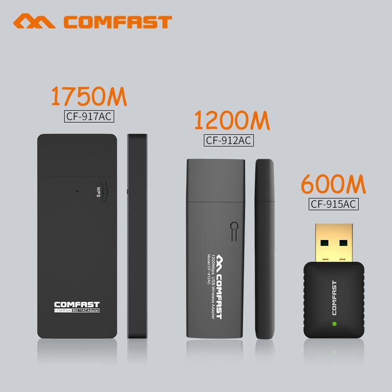 AC 600 m & 1750 m & 1200 m usb sans fil carte réseau 802.11AC Bi-bande 2.4g/5 ghz USB WIFI Adaptateur récepteur dongle soft AP routeur WI-FI