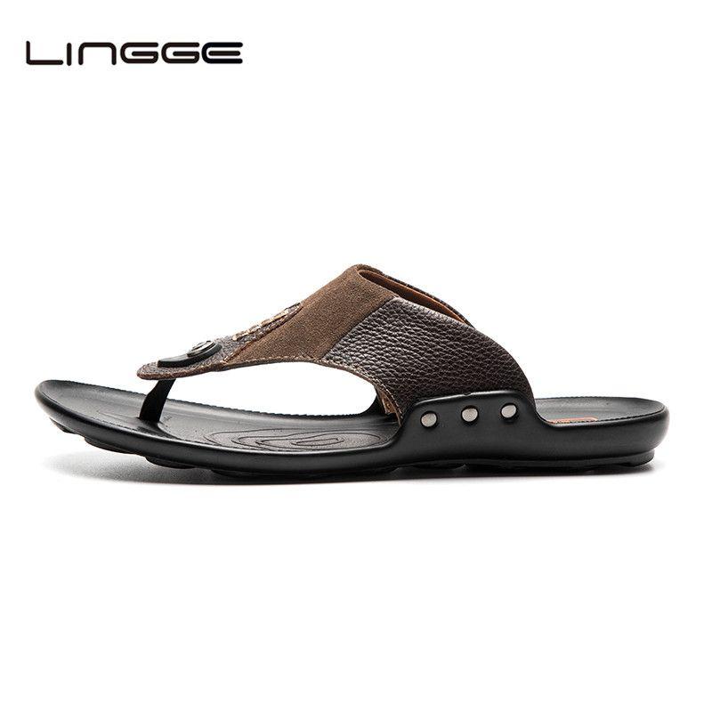 Lingge Для мужчин Шлёпанцы для женщин дышащая брендовая кожаные шлепанцы Для мужчин дома Для ванной Обувь вне моды Для мужчин S Обувь #5731