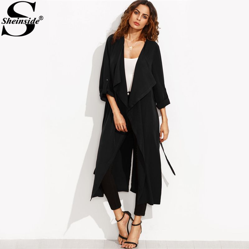 Sheinside Black Trench Coat Women Rolled Up Sleeve Self Tie Casual Outerwear 2017 Autumn Waterfall Collar Elegant Coat