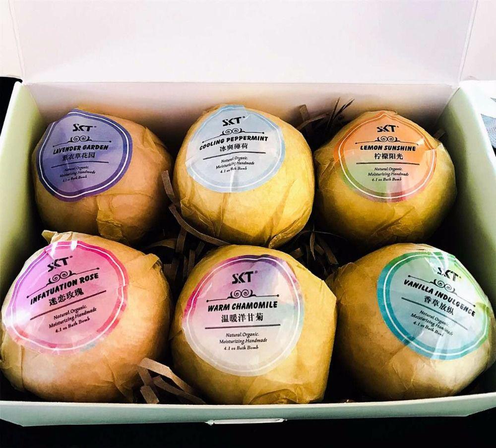 6PC Bath Bombs Bubble Bath Salts Ball Essential Oil Handmade SPA Stress Relief Exfoliating Mint Lavender Rose Flavor 100g