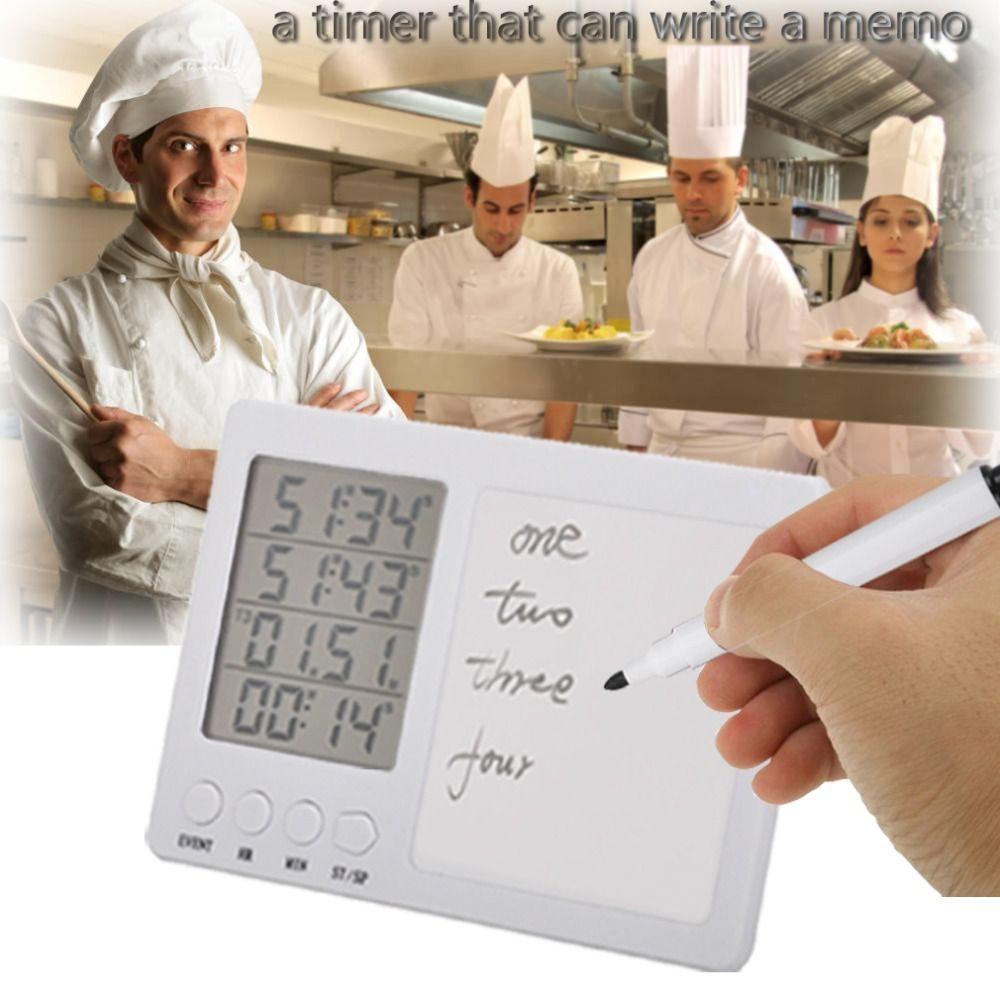 Minuterie de cuisine numérique, minuterie de cuisson, Fort, Manuscrite Version, Aimant, Stand, Blanc