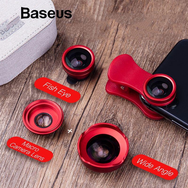 Baseus Telefon Linsen Fish Eye Objektiv + Weitwinkel + 15X Macro Kamera Objektiv für iPhone X XS Samsung Xiaomi huawei Zoom Objektiv Selfie Objektiv