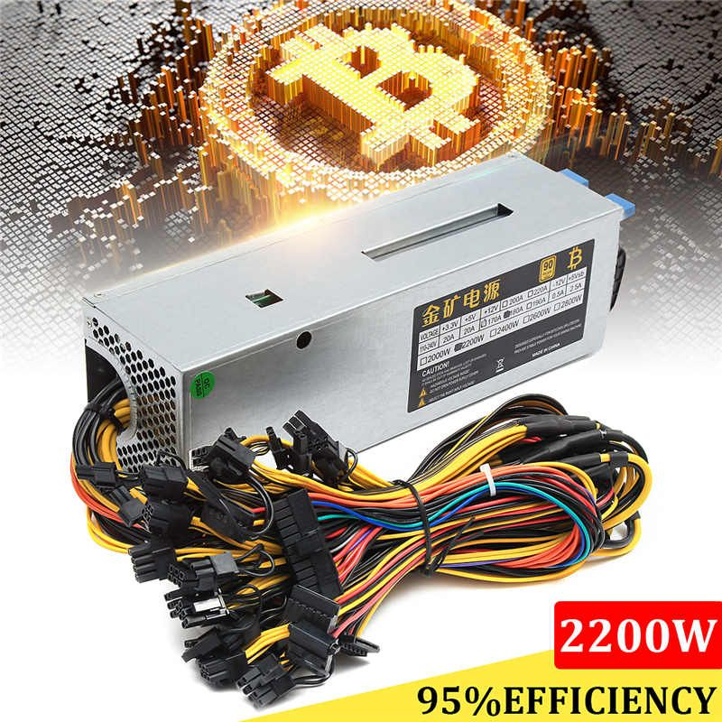 95% Efficiency 2200W 24Pin 9GPU Mining Power Supply For Eth Rig Ethereum Bitcoin Miner 90 PLUS