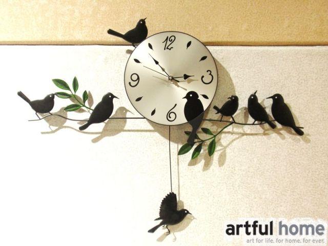 FORD oiseau horloge en fer forgé horloge murale muet personnalité montre de poche table rustique