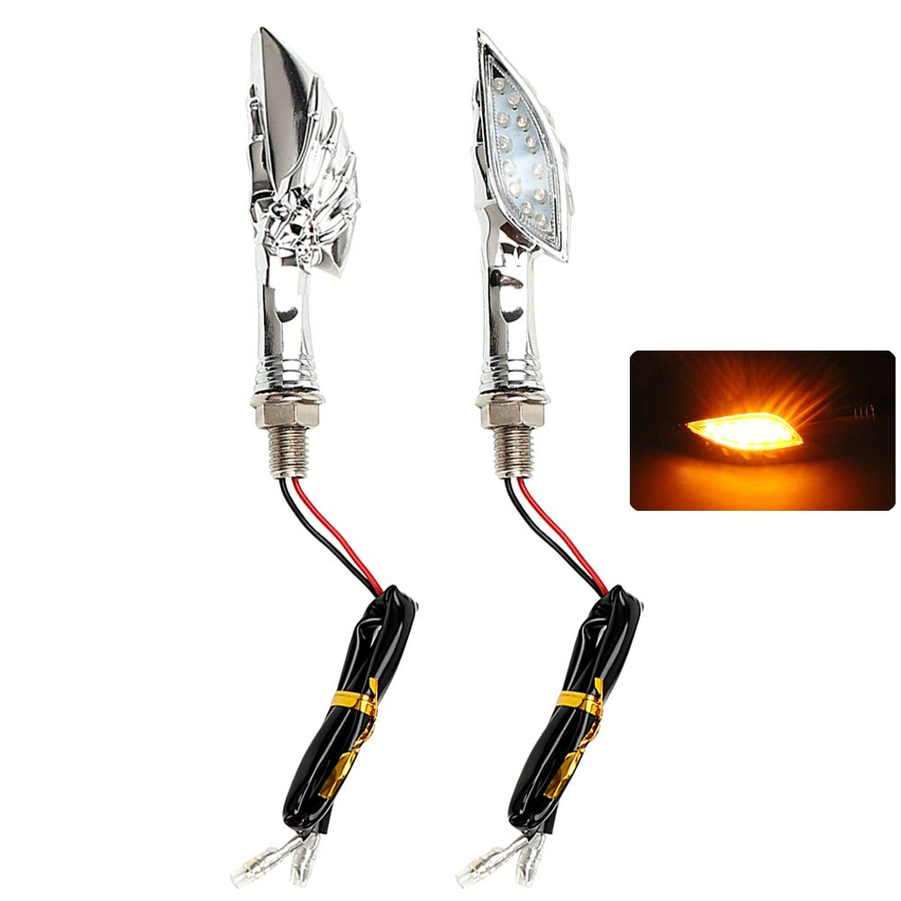 2pcs/Set Skull Hand Motorcycle Turn Indicators LED Turn Signal Light For Honda Yamaha Suzuki Kawasaki Moto Blinker Lamp Amber