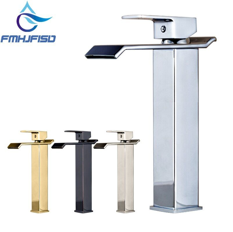 Luxury Modern Square Waterfall Spout Bathroom Basin Faucet Tall Countertop Vanity Sink Mixer Tap