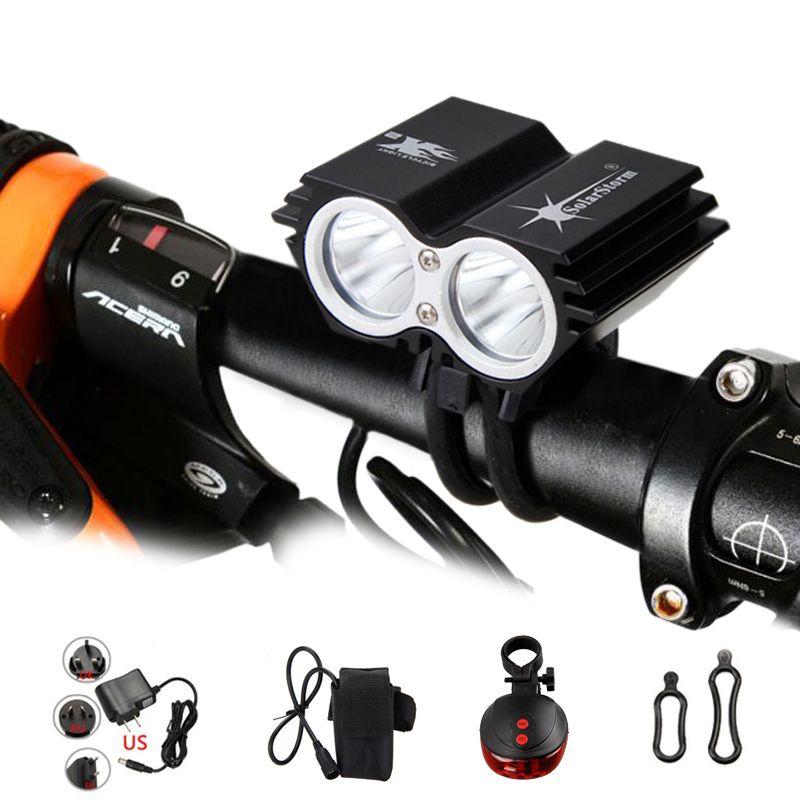 Lampe de vélo étanche 2 * T6 led éclairage vélo 4 Modes VTT Route Avant phare de vélo + Sécurité Avertissement Rouge Laser feu arrière