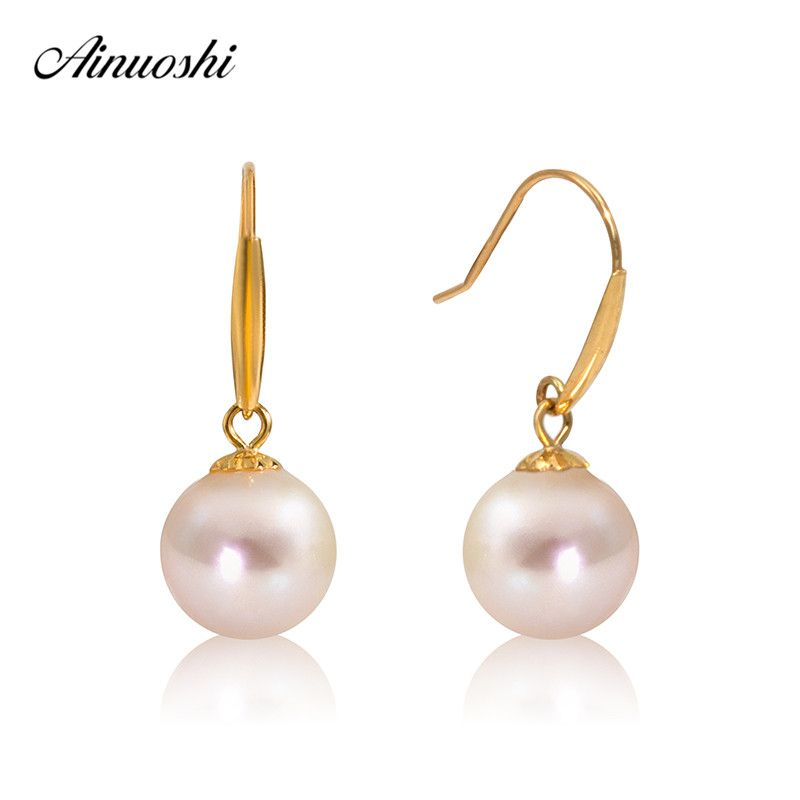 AINUOSHI 18K Yellow Gold Natural Freshwater Pearl Wedding Leaves Drop Earrings Big White Pearl for Women Jewelry Brincos Hook