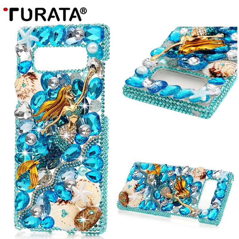 DIY 3D Luxury Bling Crystal Rhinestone Back Case for Samsung Galaxy Note8 Women Diamond Case Cover For Note 8 T35