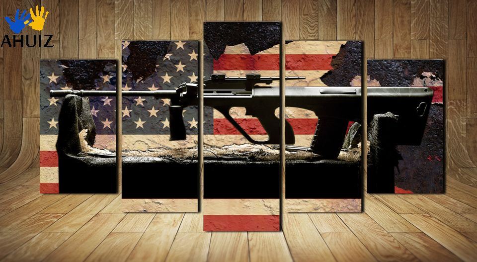 Fashion The American flag background gun poster wall painting canvas art decoration for living room no framed MS0040