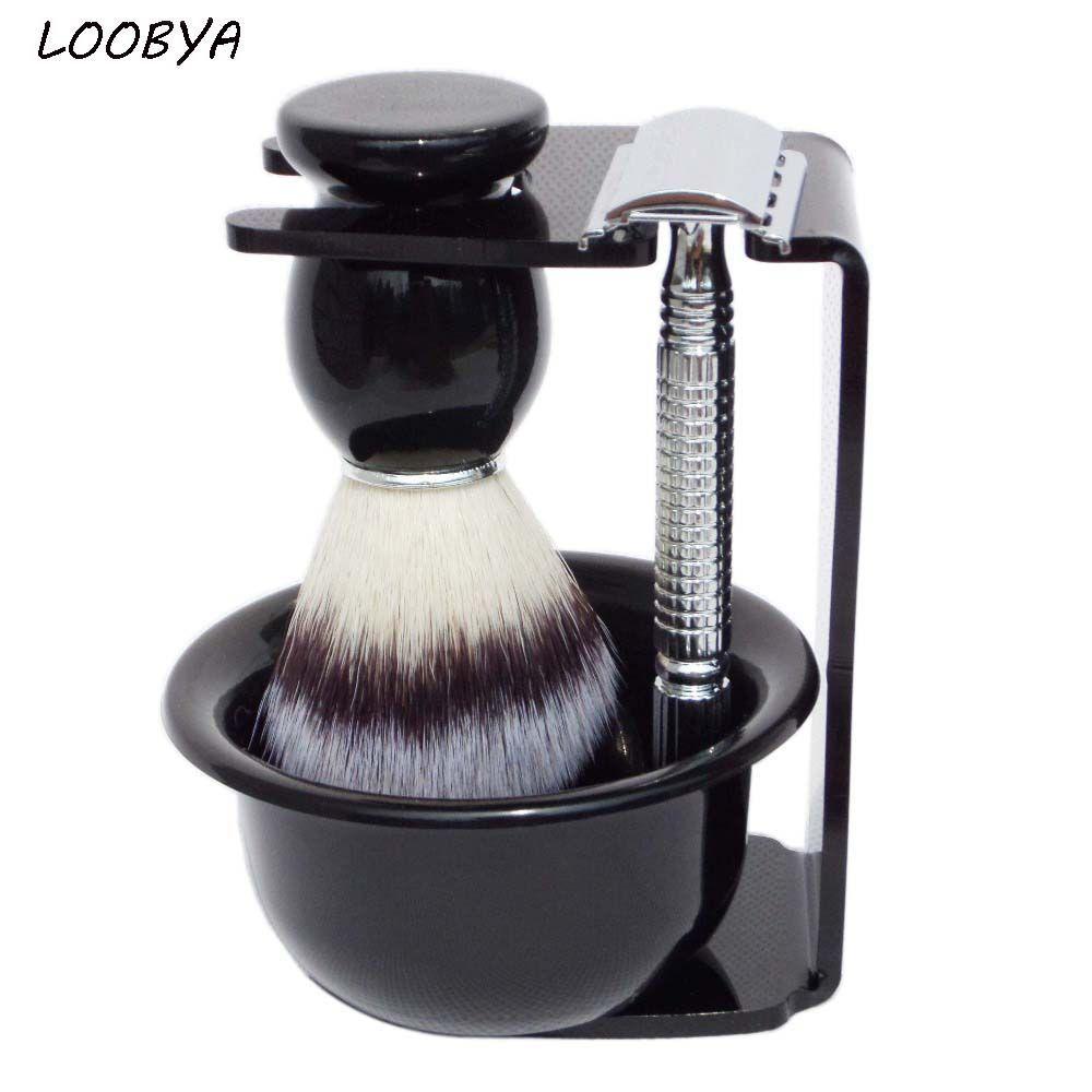 4 pc/ensemble Double Tranchant Rasoir De Sécurité Rasage Brosse Kit Barbe Outil avec Noir Acrylique Stand Bol