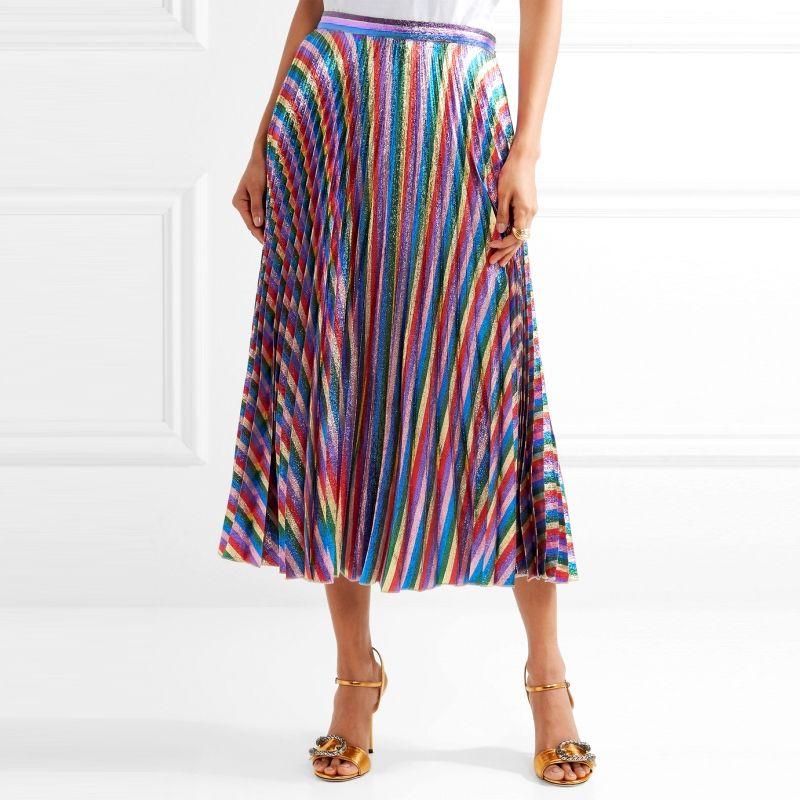 2018 Summer Women Luxury Gold Threads Rainbow Striped Pleated Skirts Runway High Waist Glitter Long Skirts Female Tunic Clothing