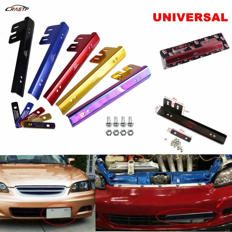 RASTP JDM Aluminum License Plate Relocator Car Front License Plate Mounting Relocate Bracket Holder For Honda Civic RS-BTD015