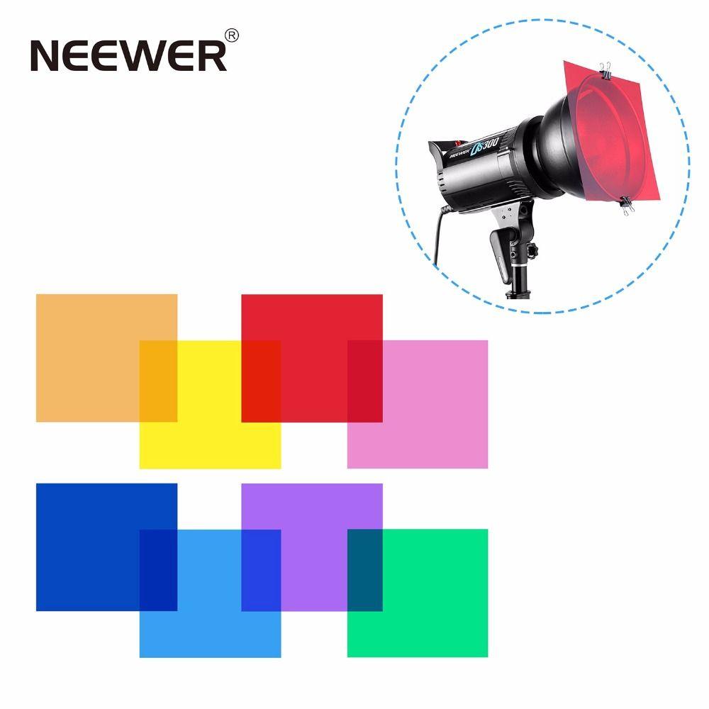 Neewer 30x30 cm lot de 8 filtre à Gel de Correction de couleur transparente en 8 couleurs différentes