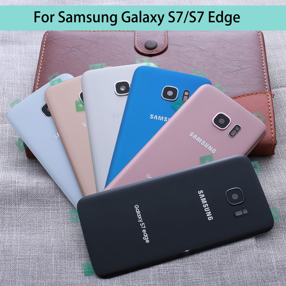 For SAMSUNG Galaxy S7 G930F/S7 EDGE G935F Back Glass Battery Cover Rear Door Housing Case For 5.1 SAMSUNG S7 Back Glass Cover