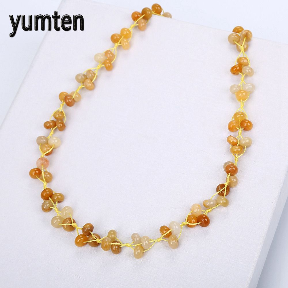 Yumten Topaz Braided Necklaces Natural Stone Crystal Ladies Bead Necklace Ladies Accessories Valentine's Day Gifts Colgantes Fox