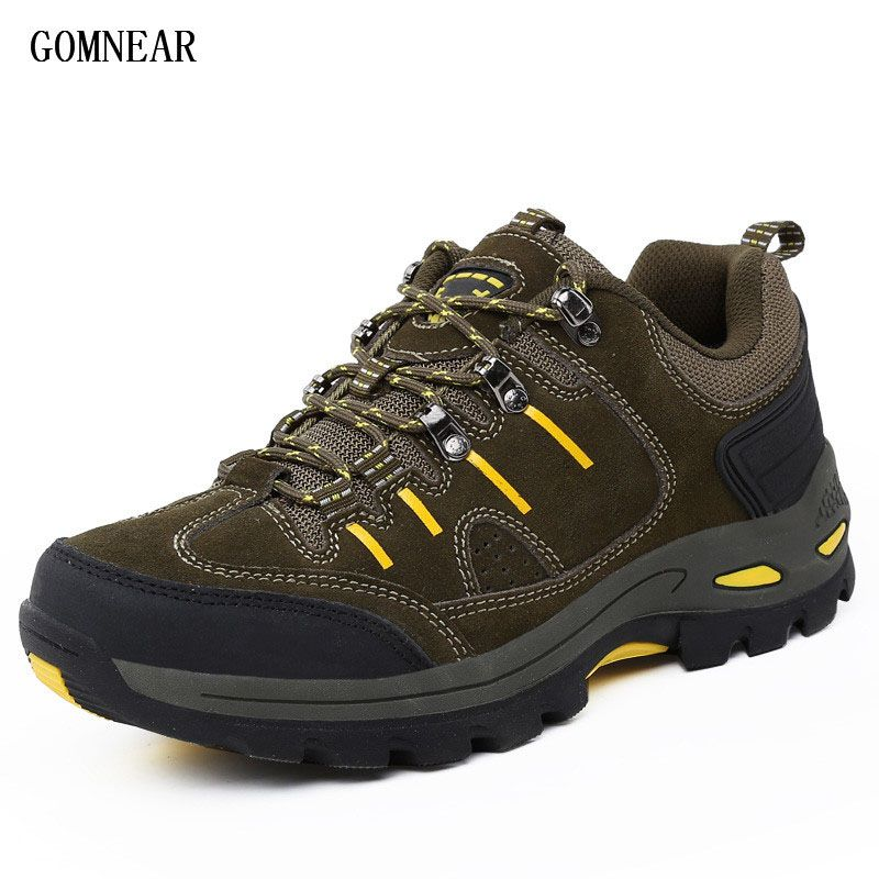 GOMNEAR Sneakers Men Top quality Big Size Men Hiking Shoes Outdoor Breathable Antiskid Tourism Leisure Trekking trend boots