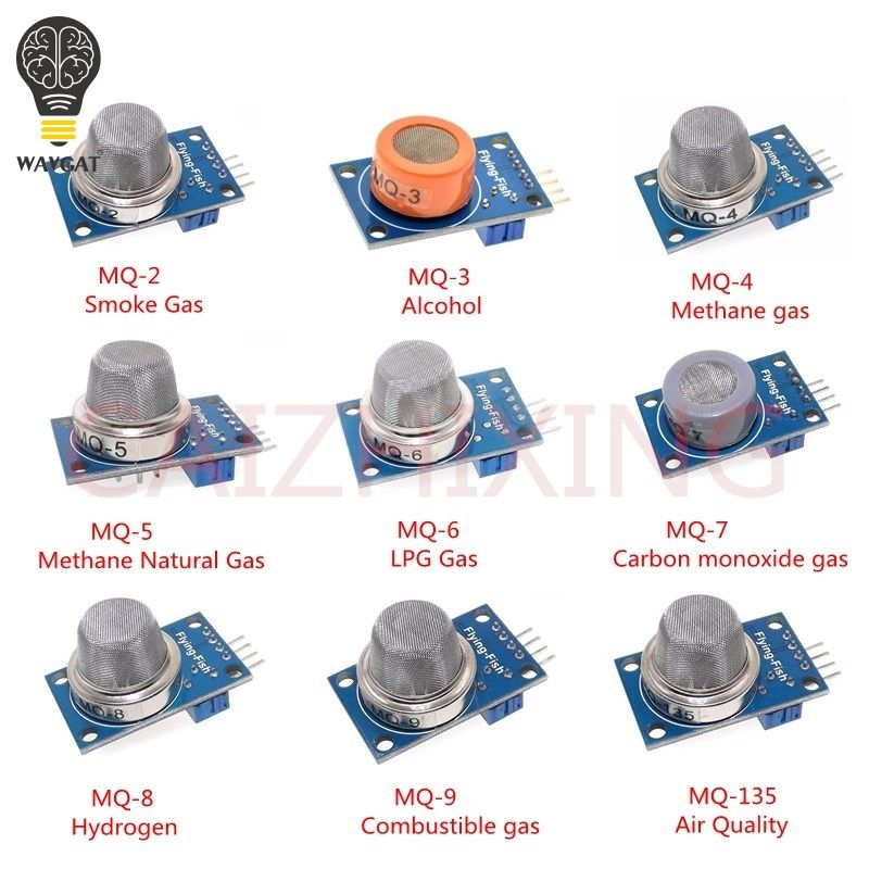 9PCS/1Lot Gas Detection Sensor Module MQ-2 MQ-3 MQ-4 MQ-5 MQ-6 MQ-7 MQ-8 MQ-9 MQ-135 Sensor Module Gas Sensor Starter Kit