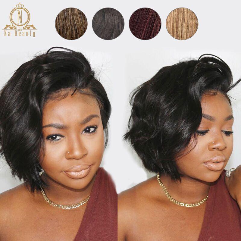 13x6 dentelle avant cheveux humains court Bob perruques Pixie Cut Ombre couleur 1B 27 613 Blonde noire droite pour les femmes brésiliennes Remy cheveux