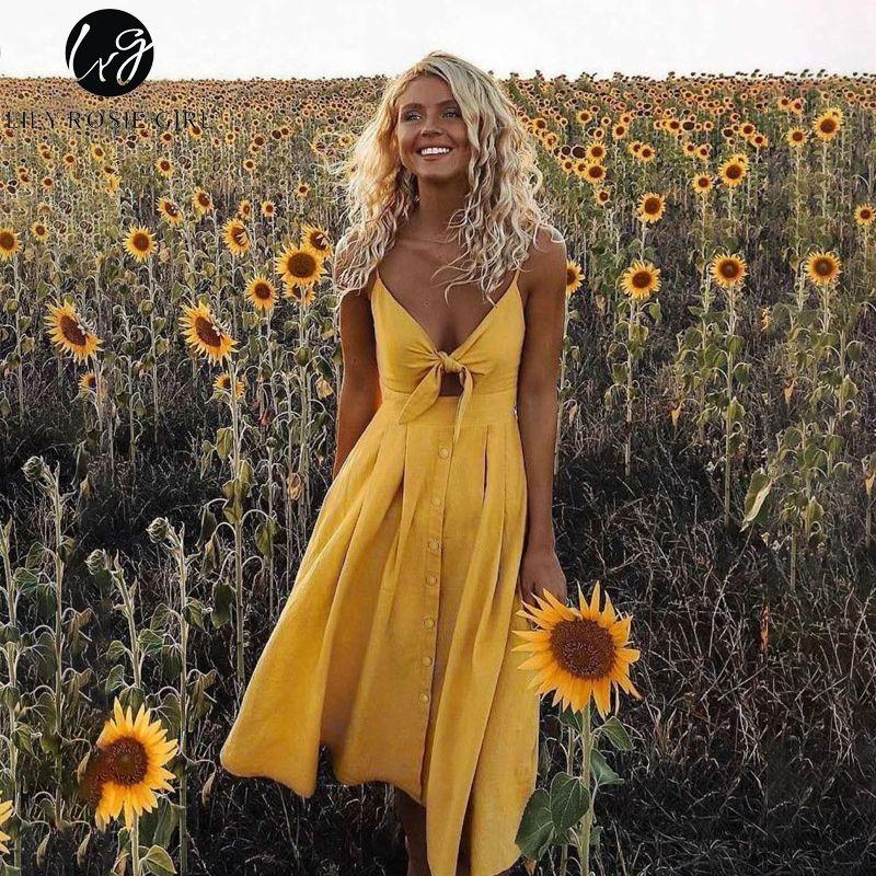Lily Roise Girl Yellow Spaghetti Strap Dress Bow Tie Midi Dress V Neck Button Up Summer Girl Dress Sexy Chic Streetwear Vestido