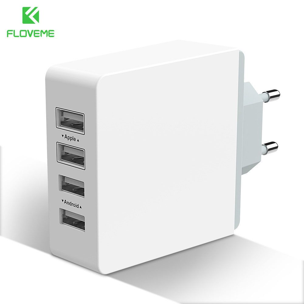 FLOVEME 4-Port USB Phone Changer Wall Charger Plug With EU US Travel Adaptor USB Interface For iPhone iPad Samsung Android Phone