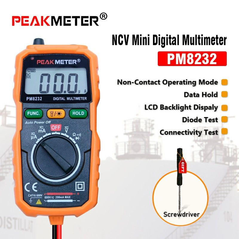 Non-Contact Mini Digital Multimeter PEAKMETER MS8232 DC AC Voltage Current Tester Ammeter Multitester