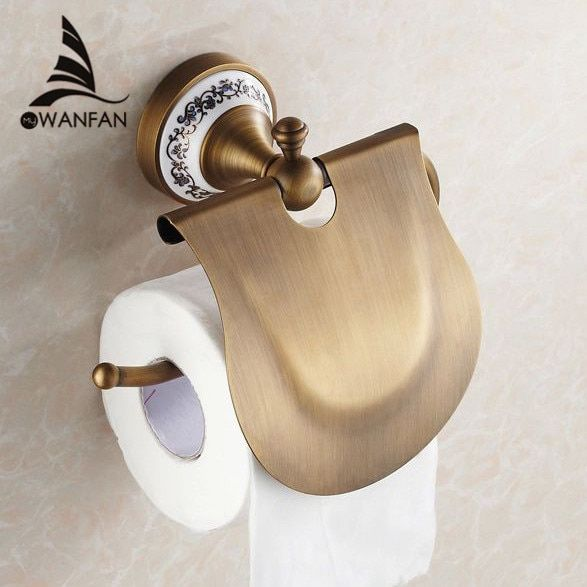 Paper Holders Antique Finish Paper Holder Tissue Roll Holder Wall Mounted Brass Construction Bathroom Accessories HJ-1807F